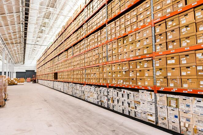 Records management boxes on shelf